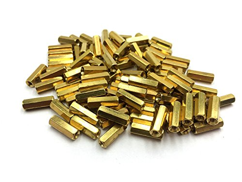 100 Pcs Hex Hexagon Female Nut Brass Standoff Spacer M3x14 M3 14mm from Auxcell