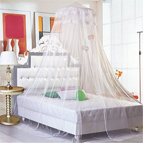 Airstomi Elegant And Romantic Lace Curtain Dome Princess Bed Canopy Mosquito Netting - White by Airstomi
