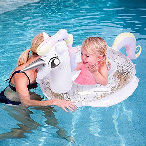 Memoriestime Inflatable Unicorn Float for Pool with Glitters Kids Floaties for Pool Toddler Swimming Tube with Safe Handle Water Fun Summer Beach Toys for 2 Years Old Up