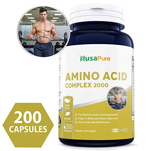 Amino Acid 2000mg Complex 200caps (Non-GMO & Gluten Free) Build Muscle, Improve Recovery and Increase Endurance