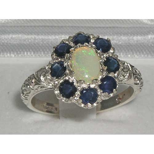 925 Sterling Silver Natural Opal and Sapphire Womens Cluster Ring - Sizes 4 to 12 Available
