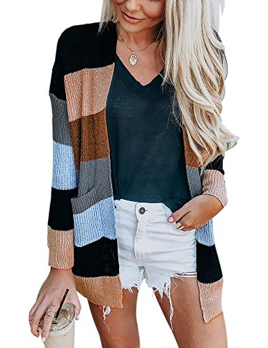 Womens Long Sleeve Loose Striped Cardigan Color Block Knit Open Front Sweater Coat (Black, S)
