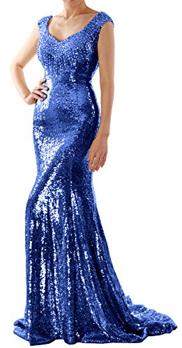 Formal Wedding Mermaid Gown Prom Party Dress Sequin Evening Blue Women MACloth Long Royal v81wqY1Z