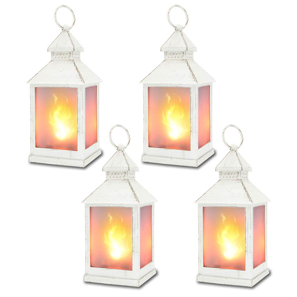 11'' Vintage Style Decorative Lantern with 36pcs Flickering LEDS,(White,4 Hours Timer) Flame Effect Lantern, Indoor Lanterns Decorative,Outdoor Hanging Lantern,Decorative Candle Lanterns ZKEE(Set Of 4)
