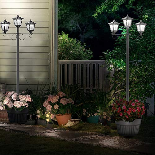 72'' Solar Lamp Post Lights Outdoor, Triple-Head Street Vintage Solar Lamp Outdoor, Solar Post Light for Garden, Lawn, Planter Not Included by Greluna (Image #3)