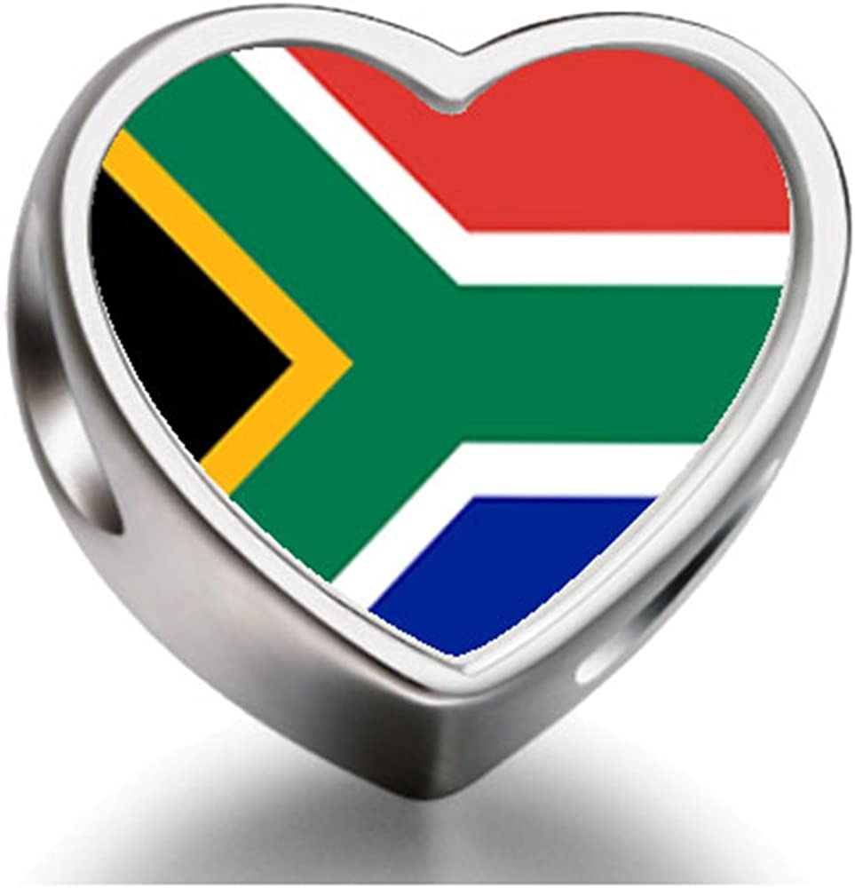 925 Sterling Silver Charms Beads South Africa Flag Heart Photo Charm Beads Fit Pandora Chamilia Biagi Beads Charms Bracelet Amazon Co Uk Jewellery