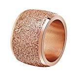 PAURO Women's Stainles Steel Wide Wedding Band Ring with Sparkly Bling Small Disc Sequins Pave Setting