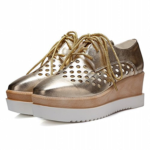 Carol Shoes Fashion Womens Pierced Lace-up Shiny Hollow Wedge Mid Heel Oxfords Shoes Gold Uq8fE