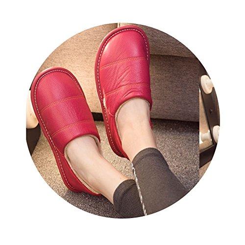 TELLW Herbst und Winter Real Lint Pantoffeln Home M?nner und Frauen in der innen-samt Sehne Bottom rutschfeste Paare warme Schafe Haut Pantoffeln Rose