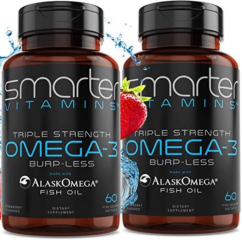 (2-Pack) Omega 3 Fish Oil, Strawberry Flavor, Burpless, Tasteless, 2000mg, Triple DHA EPA, Triple Strength Brain Support, Made with AlaskOmega®,