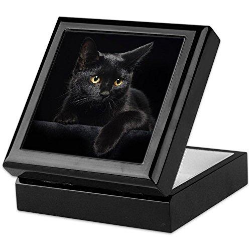 - CafePress Black Cat Keepsake Box, Finished Hardwood Jewelry Box, Velvet Lined Memento Box