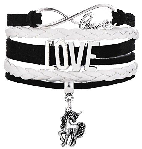 Lemegeton Antique Silver Cute Animal Unicorn Pony Charm Braided Bracelet Spiritual Jewelry for Women/Teen Girls (White) - Pony White Bracelet