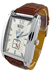 Mens Brown Leather Rectangular Automatic Mechanical Watch Male Wristwatch Casual Clock