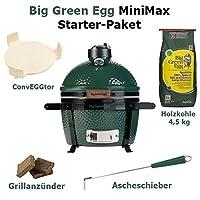 Big Green Egg MiniMax Starter Set Keramikgrill klein grün Keramik Ceramic Smoker Camping Balkon Picknick Grill-Set ✔ Deckel ✔ oval ✔ tragbar ✔ Grillen mit Holzkohle ✔ für den Tisch