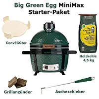 MiniMax Starter Set Kamado Grill Big Green Egg klein Keramik grün Keramikgrill Camping Balkon Picknick Grill-Set ✔ Deckel ✔ oval ✔ tragbar ✔ Grillen mit Holzkohle ✔ für den Tisch