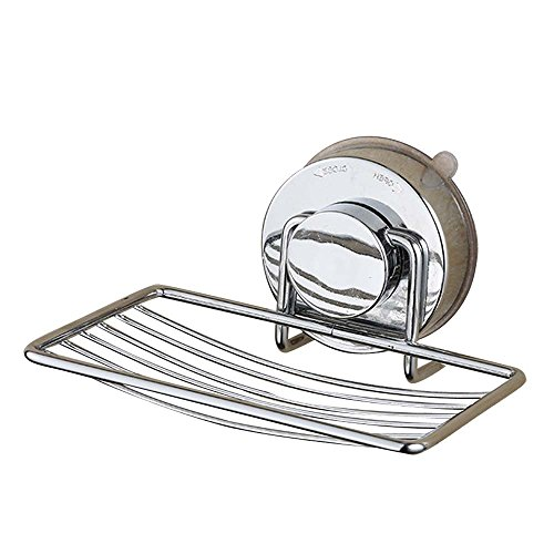 Soap Dish Holder Organizer Stainless Steel Vacuum Powerful Suction Cup Soap Saver Dish Soap Tray Soap Holder for Shower, Bathroom, Tub and Kitchen Sink - No Drilling - 4 Tier Oval Shelf Cart