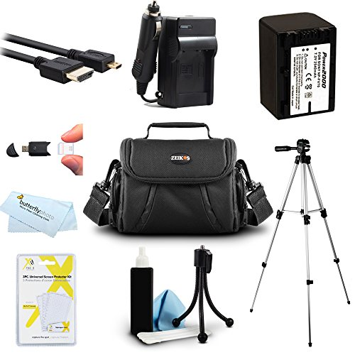 Must Have Accessory Kit For Sony HDR-CX220, HDR-CX330, HDR-CX900, HDR-PJ340, HDR-PJ670, FDR-AX33, FDR-AX53, FDRAX53/B HD Camcorder Includes Replacement NP-FV70 Battery + Charger + Case + 50 Tripod ++ by Butterfly
