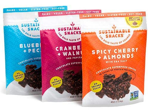 Sustainable Snacks – Plant Based – Vegan, Paleo, Gluten Free, Soy Free and Non GMO for healthy snacking with Fruit, Nuts and 80% Dark Chocolate – No Refined Sugar (Variety, 3 Bags) Review