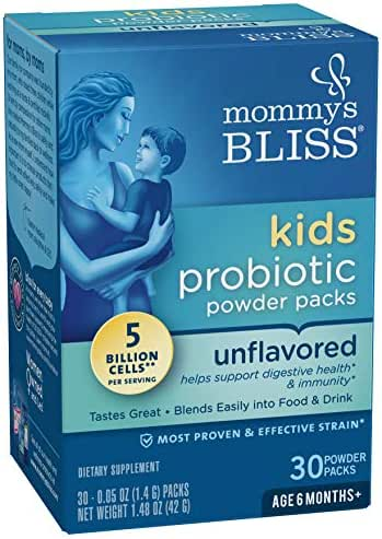 Mommy's Bliss Probiotic Powder Packs for Kids, Natural Unflavored, 30 Packets