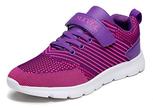 SLEVEL Lightweight Casual Fashion Sneakers Walking Shoes for Kids Boys Girls(S166Purple37) by SLEVEL