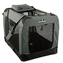 "PETMAKER Portable Soft Sided Pet Crate, 36""x24"", Gray"