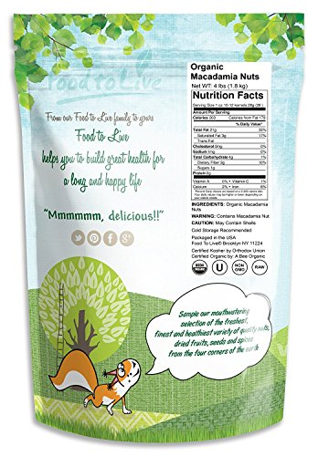 Food to Live Organic Macadamia Nuts (Raw) (4 Pound) by Food to Live (Image #1)