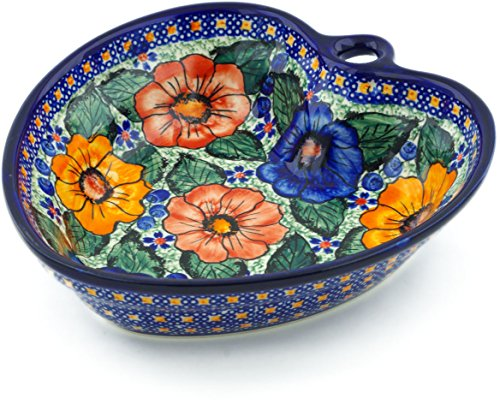 - Polish Pottery 7¾-inch Heart Shaped Bowl (Bold Pansy Theme) Signature UNIKAT + Certificate of Authenticity