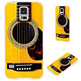 S5 case,Galaxy S5 case,Samsung S5 case, VoMotec [Cute series] Anti-scratch Slim Flexible Soft TPU Protective Skin Cover Case For Samsung Galaxy S5 i9600,funny yellow Acoustic guitar