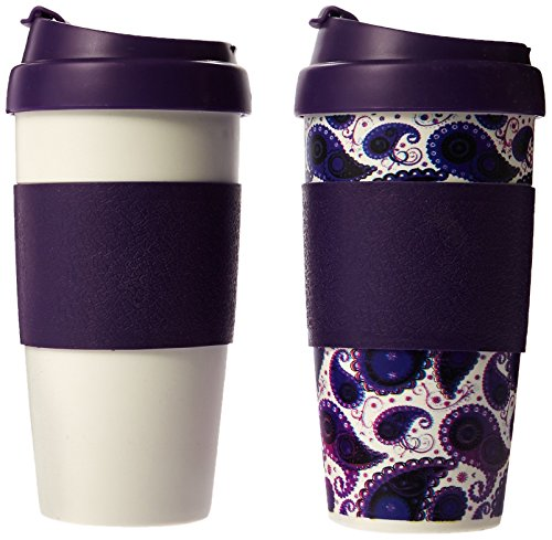 lifetime brands 5087460 2 Pack, 16 OZ, HDPP Plastic Double Wall Flip Top Thermal Coffee Mug