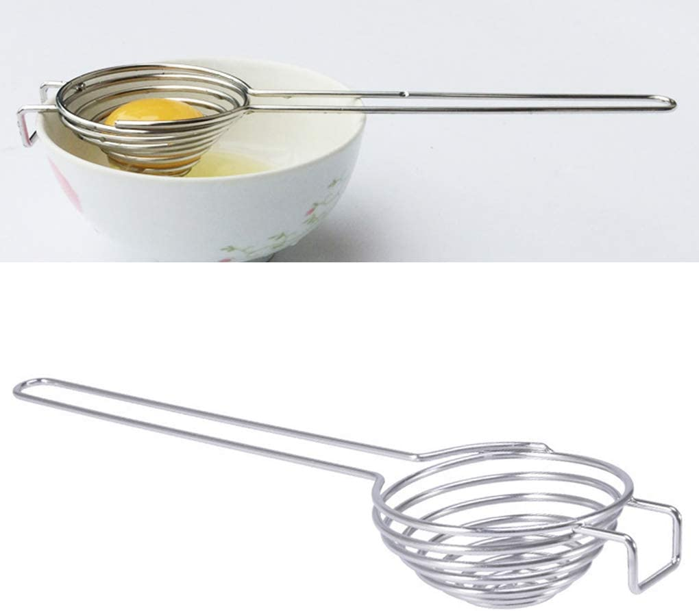 Guangcailun Spiral Stainless Steel Egg White Separator Egg stainless steel Yolk remover egg white Divider with Long Handle Kitchen Tool