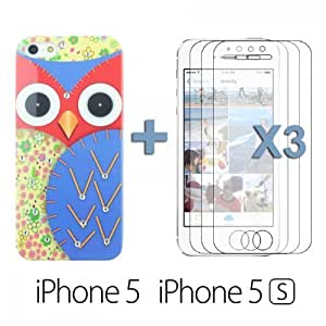 OnlineBestDigital - Owl Painting Hard Back Case with Diamond Rhinestone for Apple iPhone 5S / Apple iPhone 5 - Blue with 3 Screen Protectors