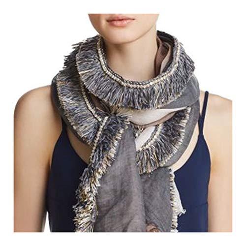 (Gaynor Oblong 3 Color Tie Dye Fringe Italian Linen Scarf)