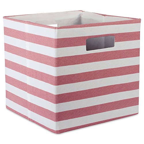 DII Foldable Fabric Storage Container for Nurseries, Offices, Closets, Home Décor, Cube Organizer & Everyday Use, 13 x 13 x 13, Stripe Rose, Large