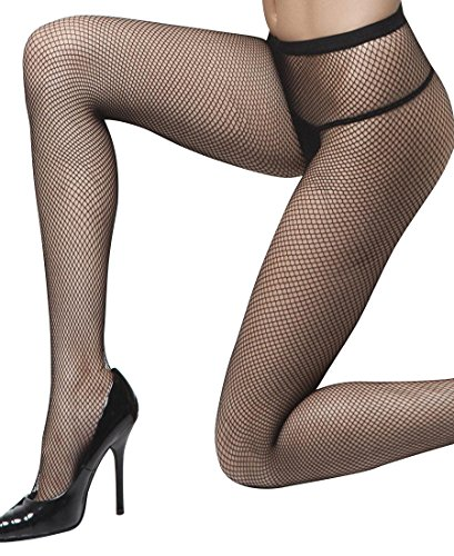 Coquette 1760 Women's Fishnet Tights Pantyhose - One Size - Black
