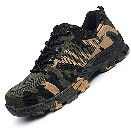Work Safety Shoes, Steel Toe Puncture Camouflage Military Indestructible Construction Breathable for Men and Women (7 Women / 5.5 Men, Green)