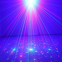 SUNY Laser Light Red Green Gobo Projector Blue LED Z40RG for DJ Home Holiday Show Xmas Party Indoor Room Lights