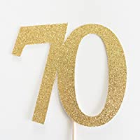 Gold Glitter 70 Cake Topper, 70th Anniversary, seventieth Birthday, seventy