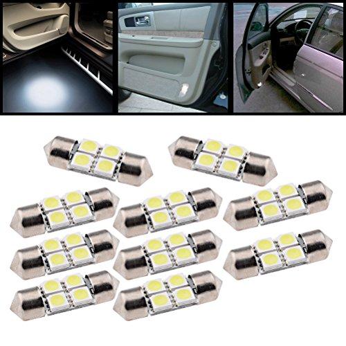 (Pack of 10) 31mm Xenon White 5050 4-SMD LED DE3021 DE3022 DE3175 Dome Map Festoon Light Bulb