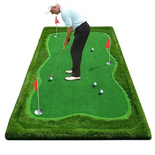 77tech Golf Putting Green System Professional Practice Green Long Challenging Putter Indoor/Outdoor Golf Simulator Training Mat Aid Equipment (5'x10' upgrade3)