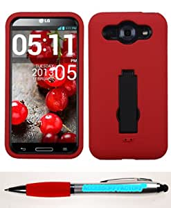 Accessory Factory(TM) Bundle (Phone Case, 2in1 Stylus Point Pen) LG E980 (Optimus G Pro) Black Red Symbiosis Stand Protector Cover