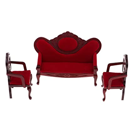 Awe Inspiring Prettyia 1 12 Dollhouse Miniature Living Room Furniture Garden Decor Wine Red Sofa Couch Set Kids Pretend Play Toy Bralicious Painted Fabric Chair Ideas Braliciousco