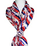 ii Scarf & Clip-Patriotic Flag Abstract Stars, Stripes Red White Blue Slide Buckle