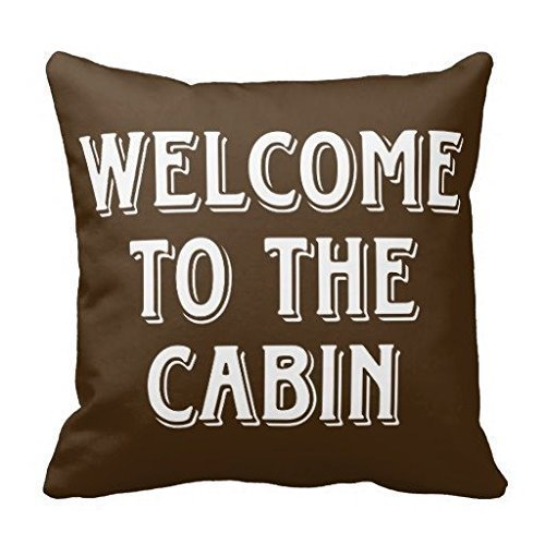 (pendant necklace Welcome to The Cabin Throw Pillow Square Pillowcase Size:18 x 18 in)