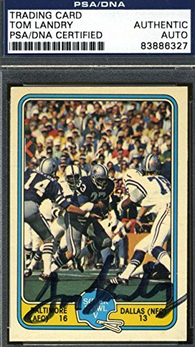 (Tom Landry 1981 Fleer Rare Original Signed Authentic Autograph - PSA/DNA Certified - Football Slabbed Autographed Rookie Cards)