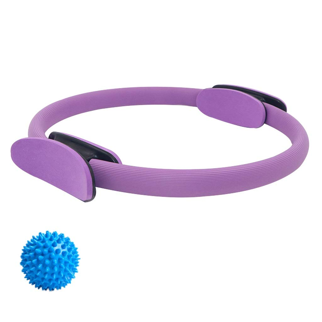 Magic Circle with a Massage Ball, Double Handle Exercise Yoga Ring Exercise Fitness 15 Inch/38cm,for Fat Burnning Physical Therapy Tool (Color : Purple)