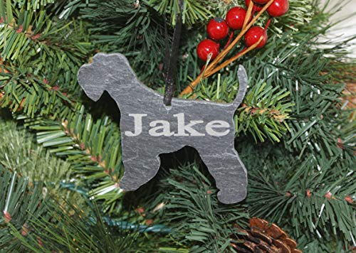 Custom Miniature Schnauzer Slate Ornament - Personalized Memorial for your Pet
