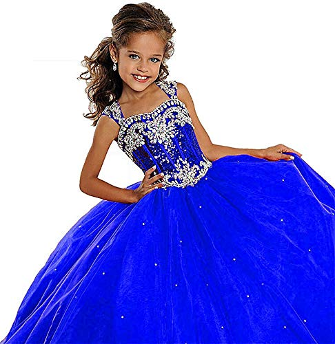Leho Flower Girls' Sequins Ball Gowns Beaded Long Pageant Dresses 12 US Royal Blue