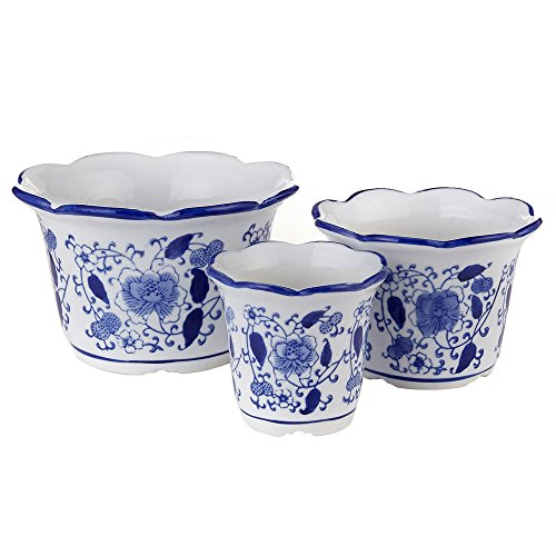 Blue and White Porcelain, HakkaGirl Planter Pots, Ceramic Flower Pots for Decorative -Set of 3 China Planter