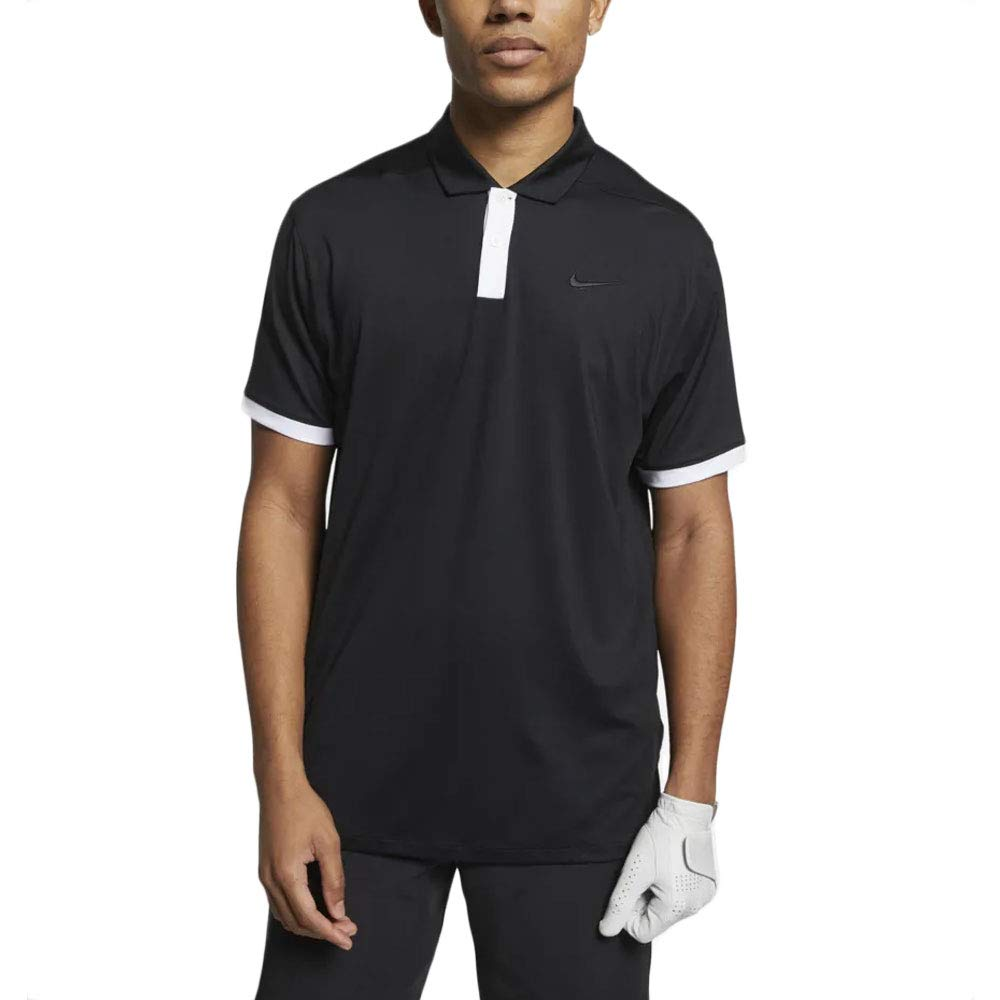 Nike New DRI FIT Vapor Solid Golf Polo Black/White Medium