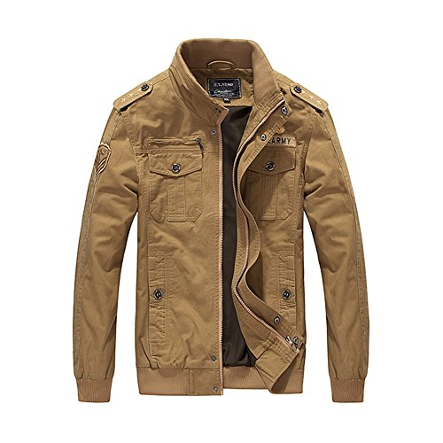 H.T.Niao Jacket9931C3 Men 's Fashion War Warm Jackets(Khaki,Size (Noritake Applique)